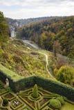 Lucht mening over kleurrijke tuin in Pieskowa Skala Royalty-vrije Stock Fotografie