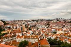 Lucht Mening over Lissabon en Brug 25 Abril Stock Afbeeldingen