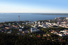 Lucht mening over Tampere, Finland stock afbeelding