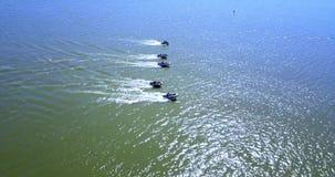 Lucht Mening Ras op motorboten stock video