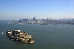 Lucht mening van Alcatraz, Baai B royalty-vrije stock foto