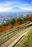 Lucht mening van berg Fuji, Fujiyoshida, Japan Royalty-vrije Stock Afbeelding