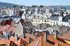 Lucht mening van Bergen, Noorwegen Stock Afbeelding