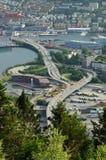 Lucht mening van Bergen, Noorwegen Stock Fotografie