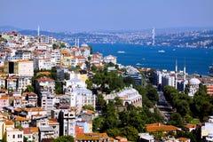 Lucht mening van brug Bosphorus in Istanboel Stock Foto's