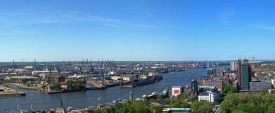 Lucht mening van de haven van Hamburg stock foto's