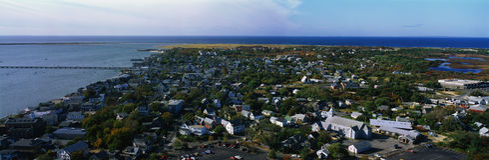 Lucht mening van de Kabeljauw van Provincetown en van de Kaap, doctorandus in de letteren stock afbeelding