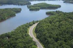 Lucht mening van de Rivier van de Mississippi in Minnesota Stock Foto
