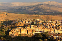 Lucht mening van de stad van Fez bij zonsondergang Royalty-vrije Stock Afbeeldingen