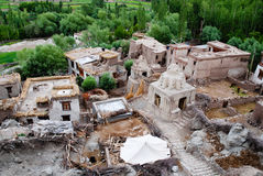 Lucht mening van Dorp, Ladakh, India Royalty-vrije Stock Afbeelding