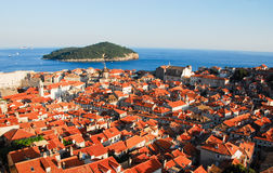 Lucht mening van Dubrovnik Stock Foto