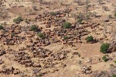 Lucht mening van een Dogon dorp, Mali (Afrika). stock foto