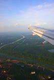 Lucht mening van een vliegtuig Stock Foto's