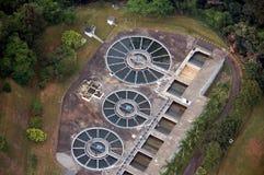 Lucht mening van een waterbehandeling plant2 Stock Foto's