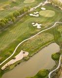 Lucht mening van golfcursus Stock Foto