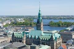 Lucht mening van Hamburg royalty-vrije stock afbeelding