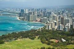 lucht mening van het strand van Honolulu Stock Foto's