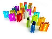 Lucht mening van kleurrijke het winkelen zakken stock illustratie