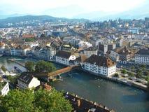 Lucht mening van Luzerne, Zwitserland Stock Afbeeldingen