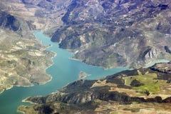 Lucht mening van meren en bergen Royalty-vrije Stock Foto