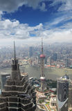 Lucht mening van moderne stad Stock Afbeeldingen