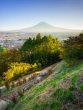 Lucht mening van MT Fuji, Fujiyoshida, Japan Stock Foto's