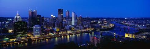 Lucht mening van Pittsburgh, de horizon van de PA stock foto's