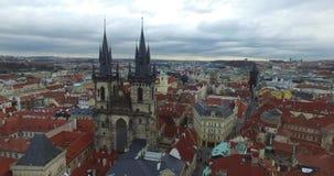Lucht mening van Praag, Tsjechische Republiek stock footage