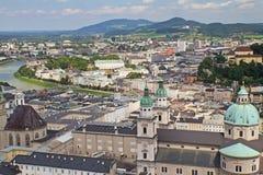 Lucht mening van Salzburg (Oostenrijk) Stock Foto