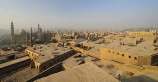 Lucht mening van smoggy Kaïro, Egypte Royalty-vrije Stock Foto's