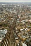 Lucht mening van Spoorweg, Zuid-Londen Stock Foto's