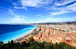 Lucht mening van strand in Nice Stock Afbeelding
