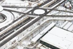 Lucht Mening van Weg met Sneeuw royalty-vrije stock afbeeldingen