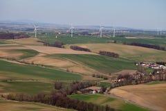 Lucht mening van windturbines Royalty-vrije Stock Foto's