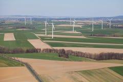 Lucht mening van windturbines Stock Afbeelding