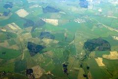 Lucht mening - windmolens stock foto