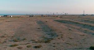 lucht Mooie langzame de hommellengte van de motiezonsondergang van vogelszeemeeuwen die boven Dungeness-dorp in Kent, Engeland vl stock video