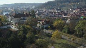 Lucht oud stadsvierkant, Praag, Tsjechische Republiek stock videobeelden