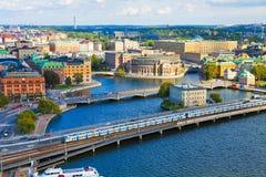 Lucht panorama van Stockholm, Zweden royalty-vrije stock foto's