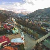 Lucht panoramisch schot van Rakhiv-stad in de Oekra?ne royalty-vrije stock foto's