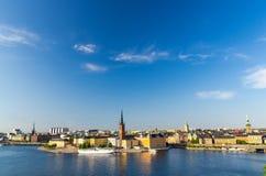 Lucht panoramische hoogste mening van Riddarholmen-district, Stockholm, S royalty-vrije stock foto's