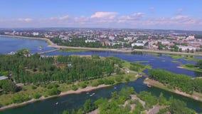 Lucht Photography Landschap van de stad van hierboven De zomer irkoetsk stock video