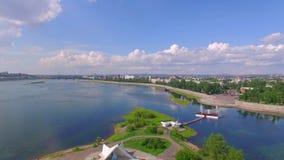 Lucht Photography Landschap van de stad van hierboven De zomer irkoetsk stock footage