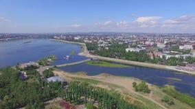 Lucht Photography Landschap van de stad van hierboven De zomer irkoetsk stock videobeelden