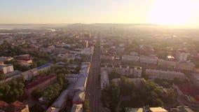 Lucht Photography Ochtend van een grote stad De zomer irkoetsk stock footage
