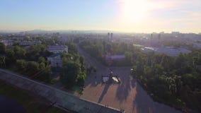 Lucht Photography Ochtend van een grote stad De zomer irkoetsk stock videobeelden