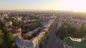 Lucht Photography Ochtend van een grote stad De zomer irkoetsk stock video