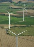 Lucht spruit van 3 windturbines Stock Fotografie