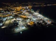 Lucht, Verschepende Containerdepot bij Nacht Royalty-vrije Stock Afbeeldingen