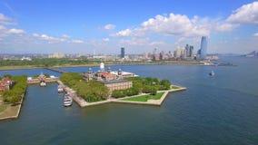 Lucht videoellis island new york stock footage